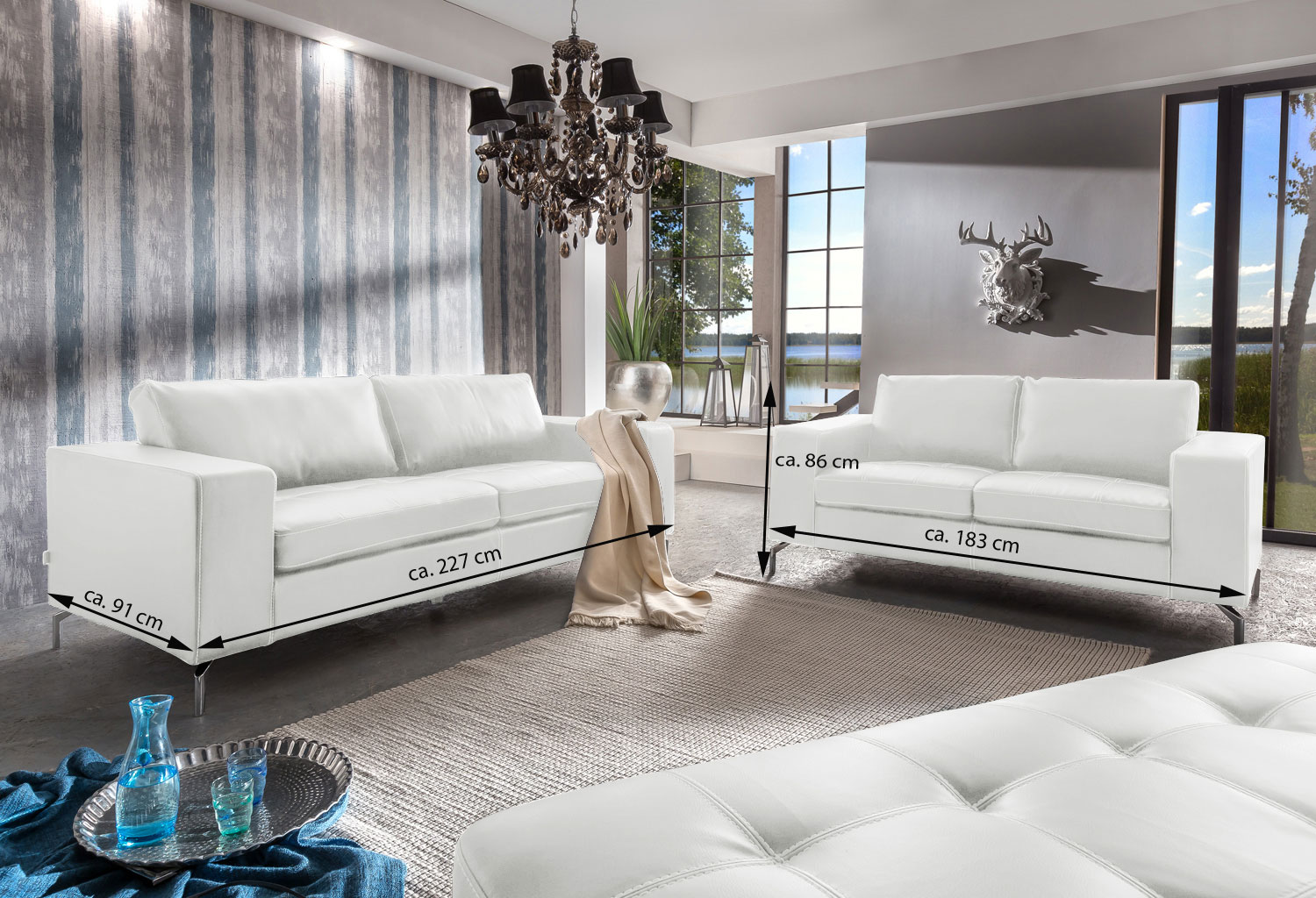sam sofa garnitur wei belair 3 2 1 g nstig. Black Bedroom Furniture Sets. Home Design Ideas
