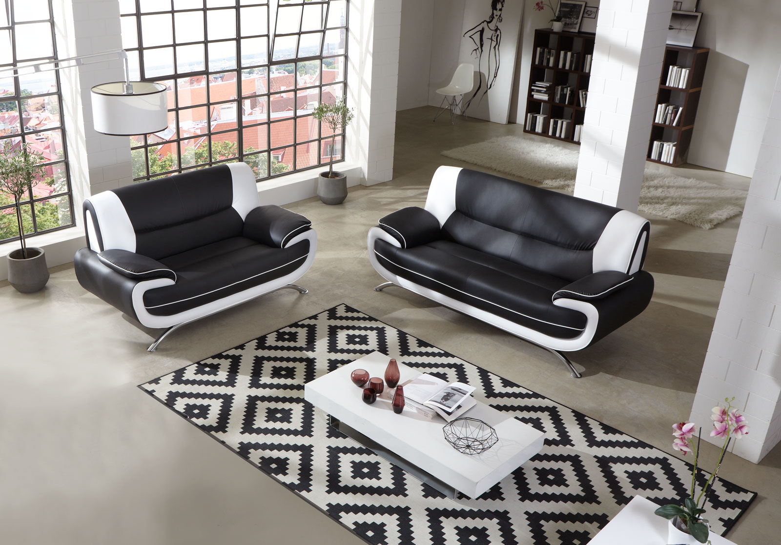 sam sofa garnitur 2tlg in schwarz wei passero 3 2. Black Bedroom Furniture Sets. Home Design Ideas