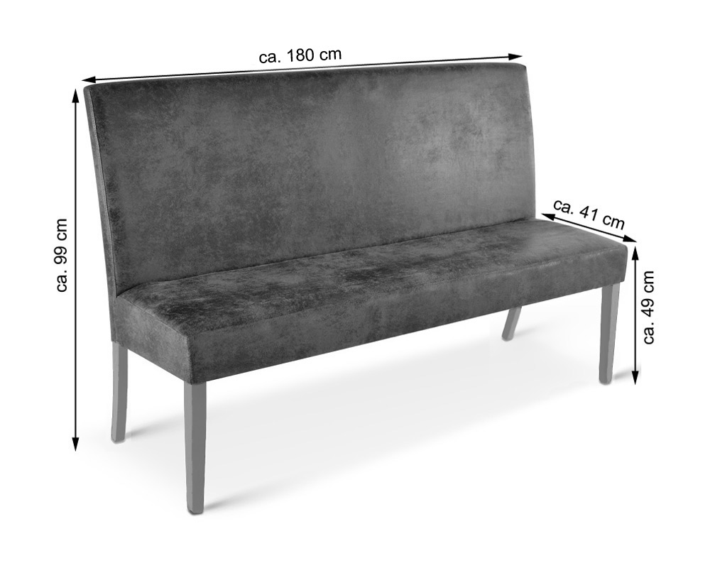 Sam esszimmerbank mit lehne 180 cm wildlederoptik stoff for Esszimmerbank 180 cm