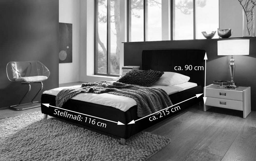 sam polsterbett 100x200 cm schwarz bettgestell g nstig zarah. Black Bedroom Furniture Sets. Home Design Ideas