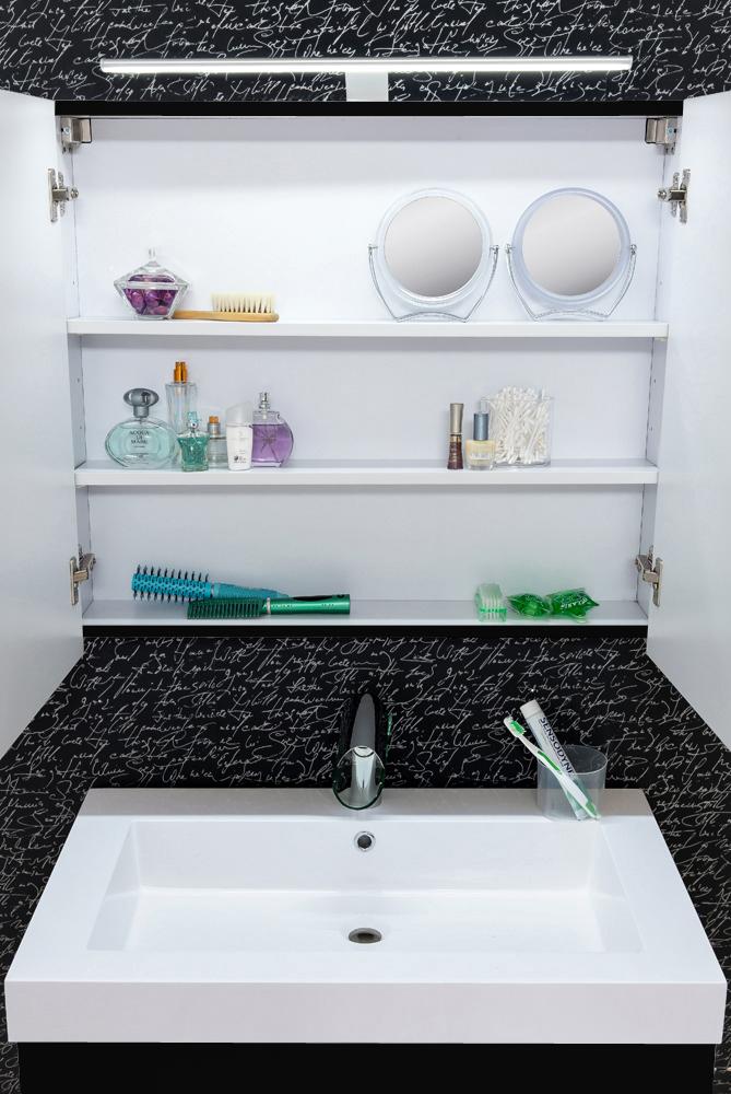 Sam 3tlg Badezimmer Set Spiegel Schwarz 80 Cm Lunik