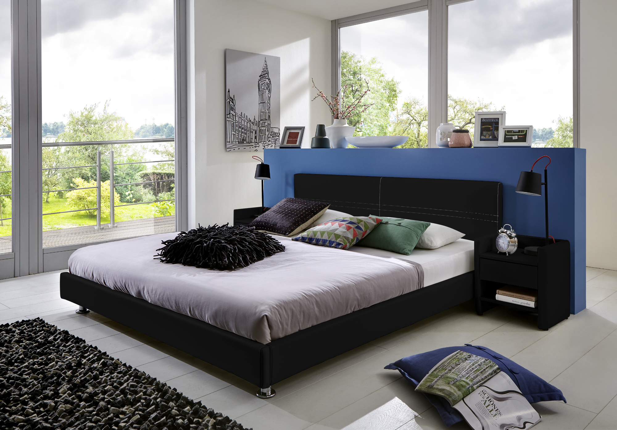 sale polsterbett bettgestell 140 x 200 cm schwarz michelle. Black Bedroom Furniture Sets. Home Design Ideas