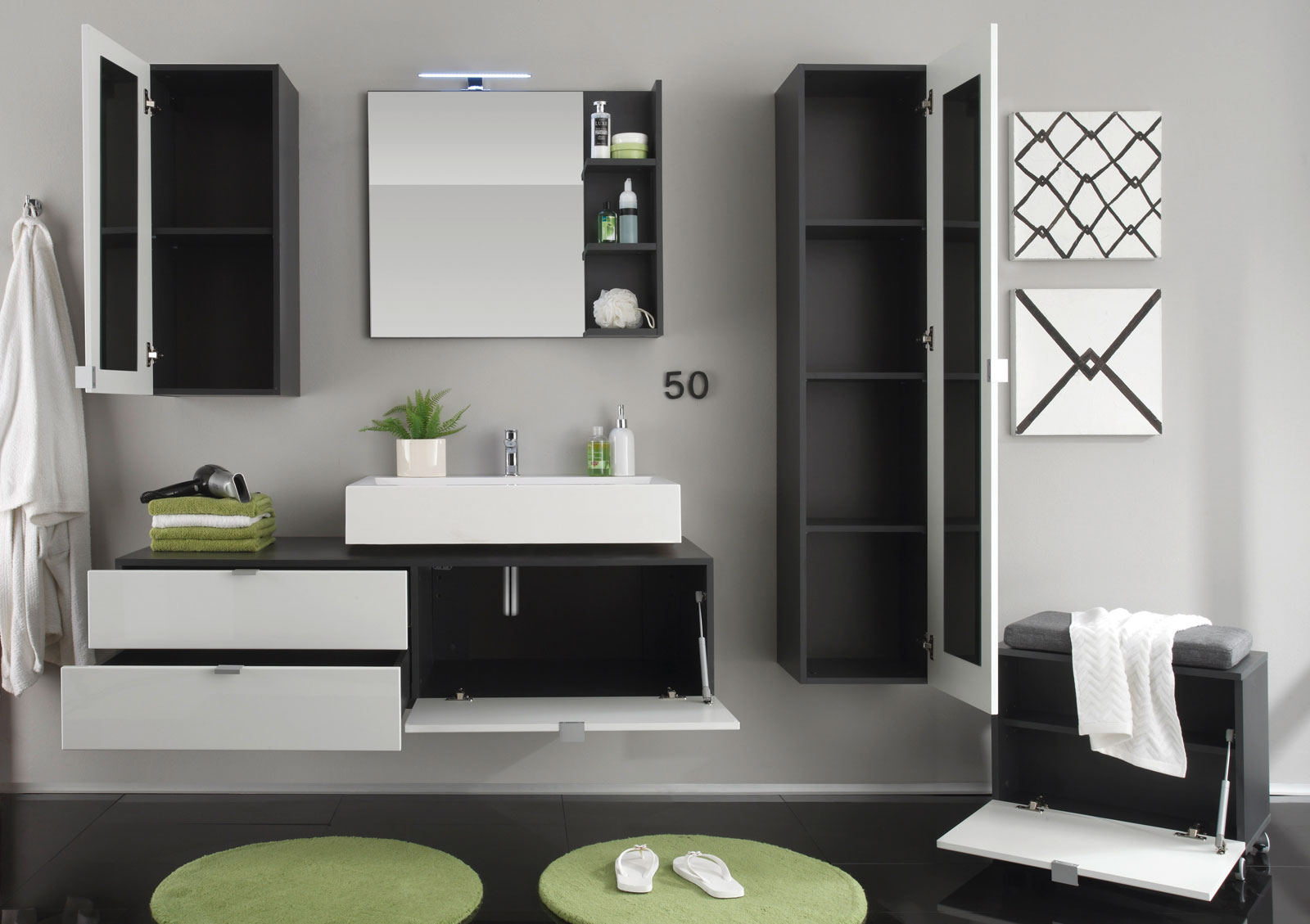 badm bel weiss h ngend. Black Bedroom Furniture Sets. Home Design Ideas