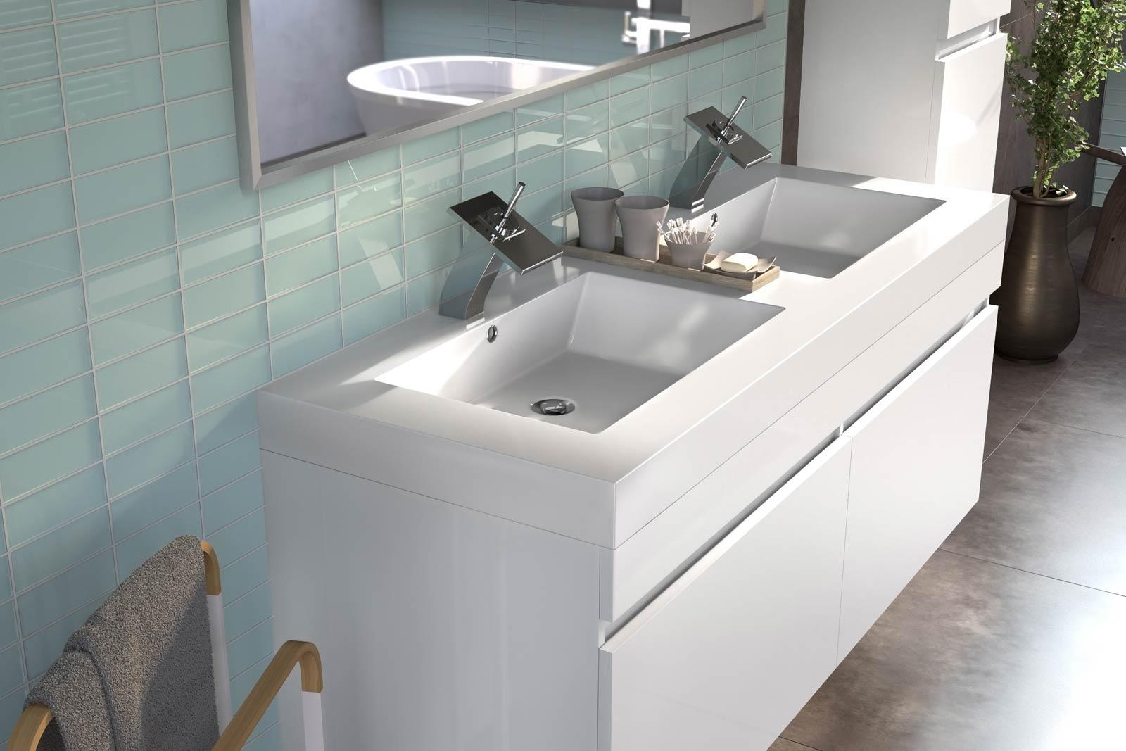 SAM® Badmöbel Set 3tlg Doppelwaschtisch 140 cm weiß Parma Demnächst !