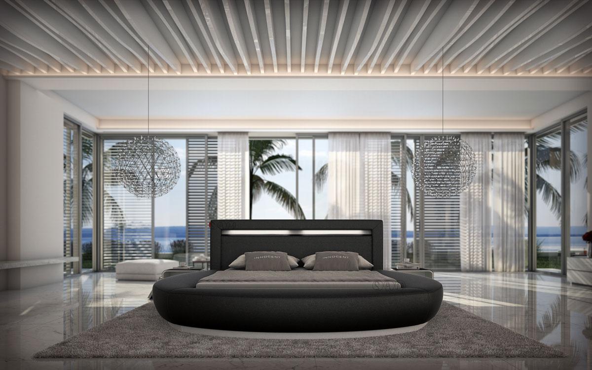 sam innocent rundbett riva 160 cm schwarz mit led auf lager. Black Bedroom Furniture Sets. Home Design Ideas