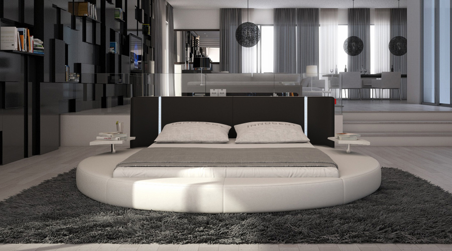 sam rundbett innocent 180 x 200 cm led wei schwarz. Black Bedroom Furniture Sets. Home Design Ideas