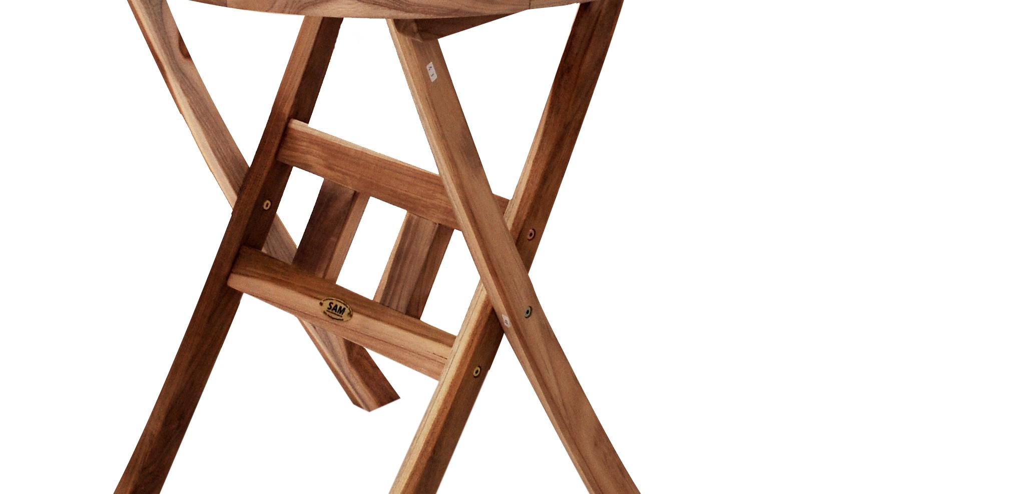 sam balkontisch rund 60 x 60 cm teak terrassentisch romario. Black Bedroom Furniture Sets. Home Design Ideas
