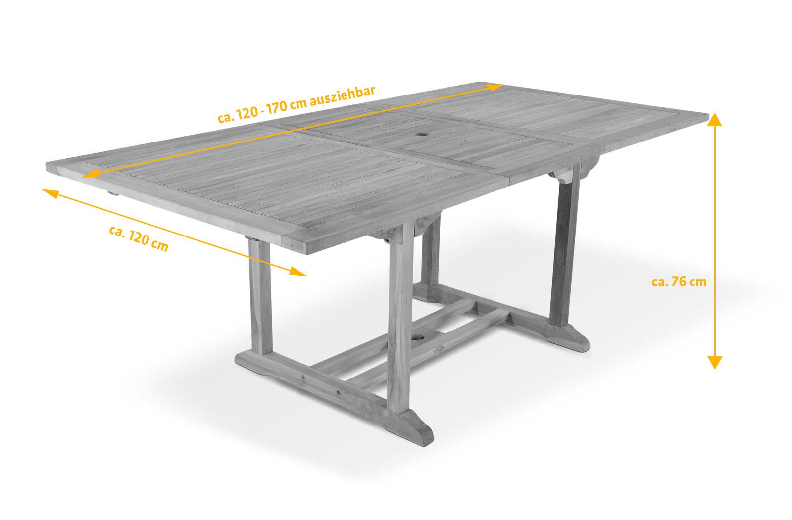 sam gartentisch teak ausziehbar 120 170 x 120 cm. Black Bedroom Furniture Sets. Home Design Ideas