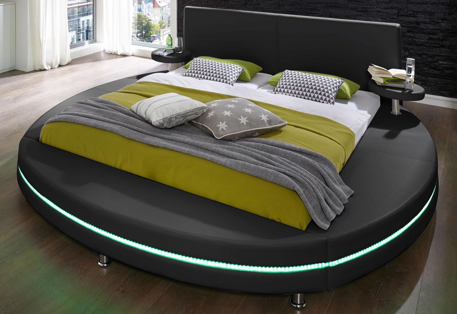 sam rundbett mit led 200 x 200 cm abgesteppt schwarz gallo. Black Bedroom Furniture Sets. Home Design Ideas