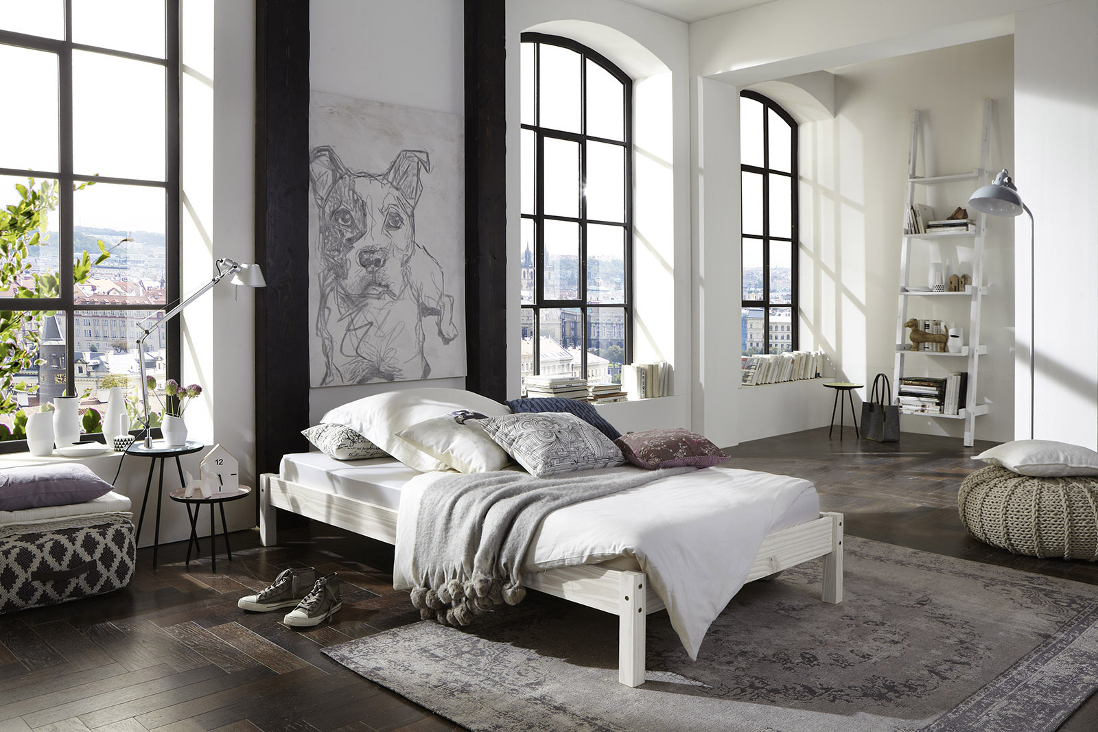 sale massivholzbett 140 x 200 cm g nstig kiefernholz wei sina. Black Bedroom Furniture Sets. Home Design Ideas