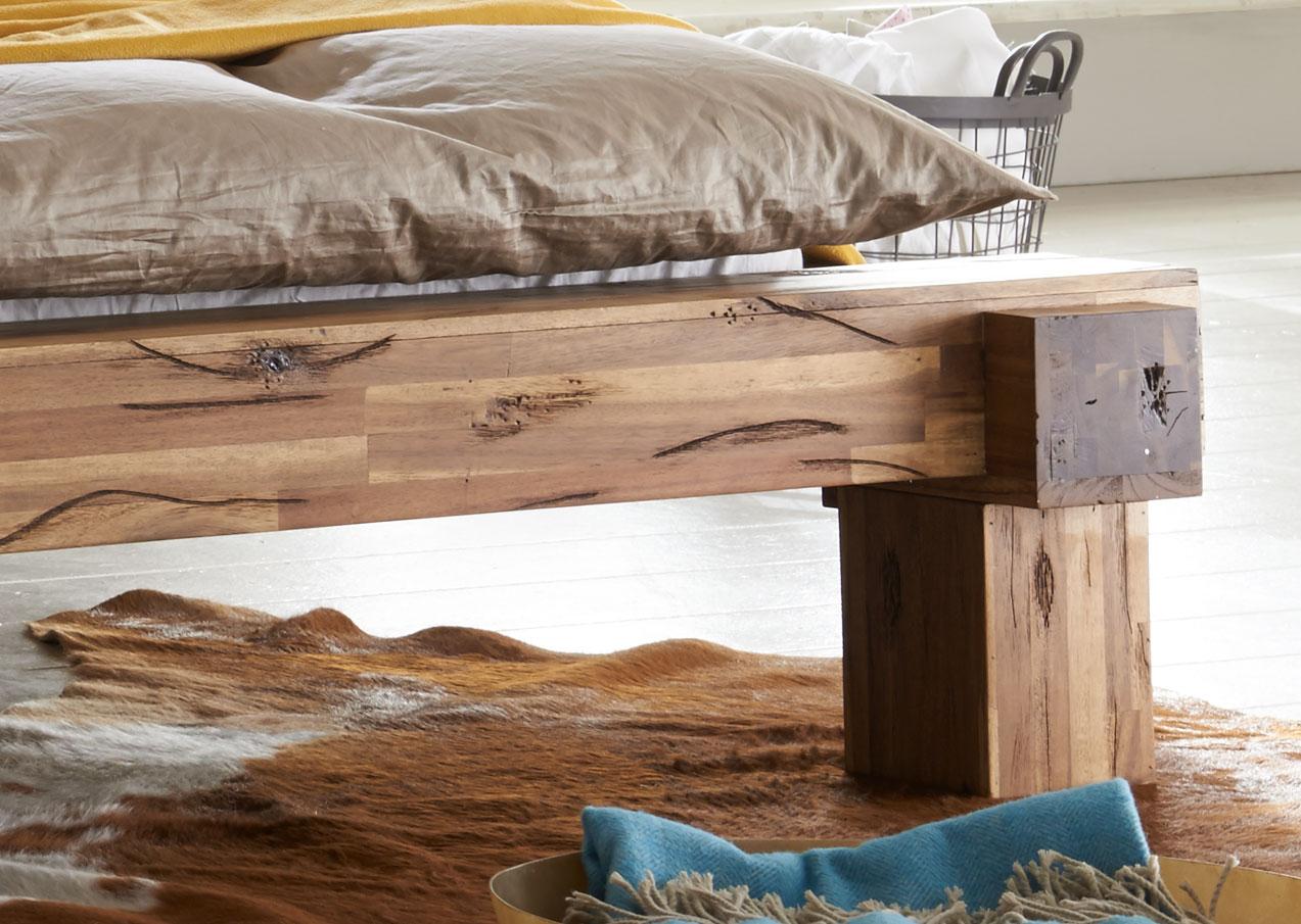 sam massivholzbett balkenbett 180 x 200 cm aus akazie elke. Black Bedroom Furniture Sets. Home Design Ideas