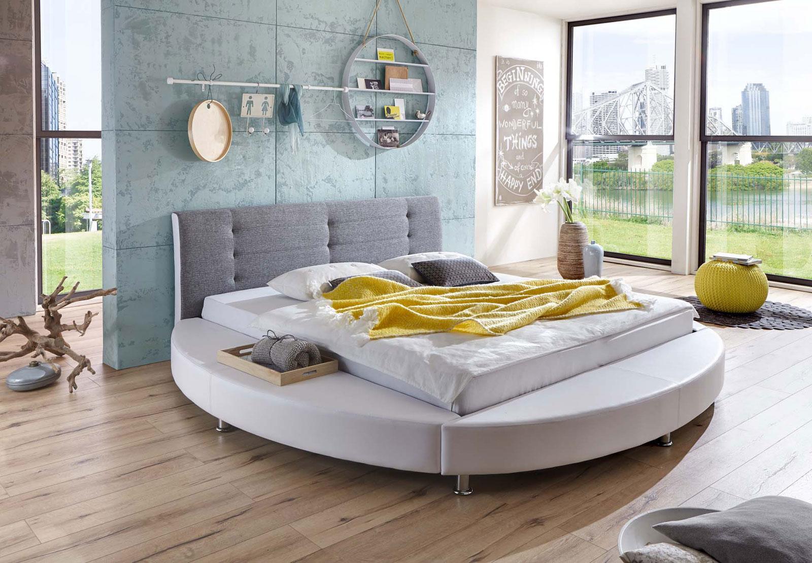 sale rundbett doppelbett wei stoff grau ehebett 180 xm. Black Bedroom Furniture Sets. Home Design Ideas