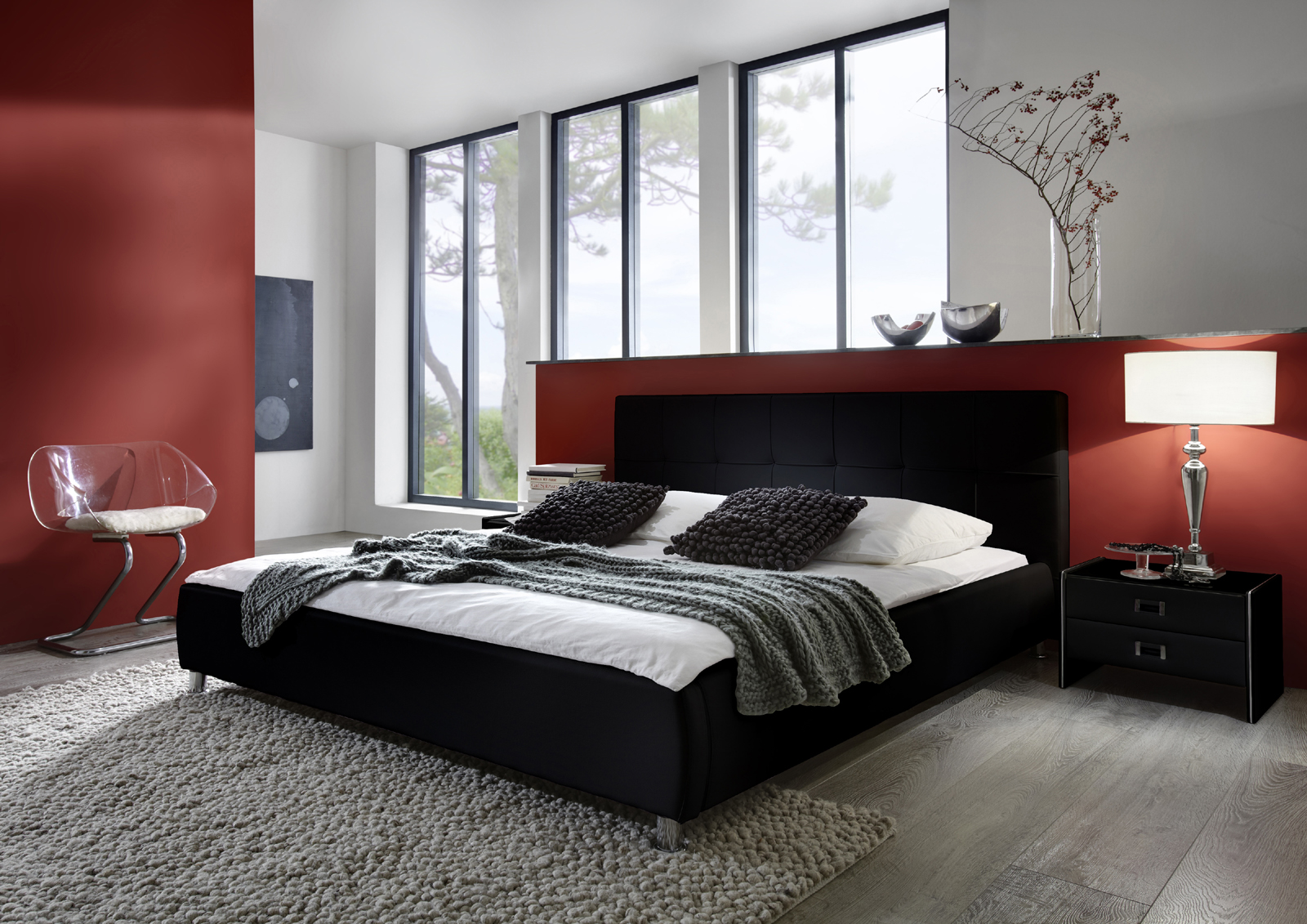 sam polsterbett 180x200 cm schwarz bettgestell g nstig zarah demn chst. Black Bedroom Furniture Sets. Home Design Ideas