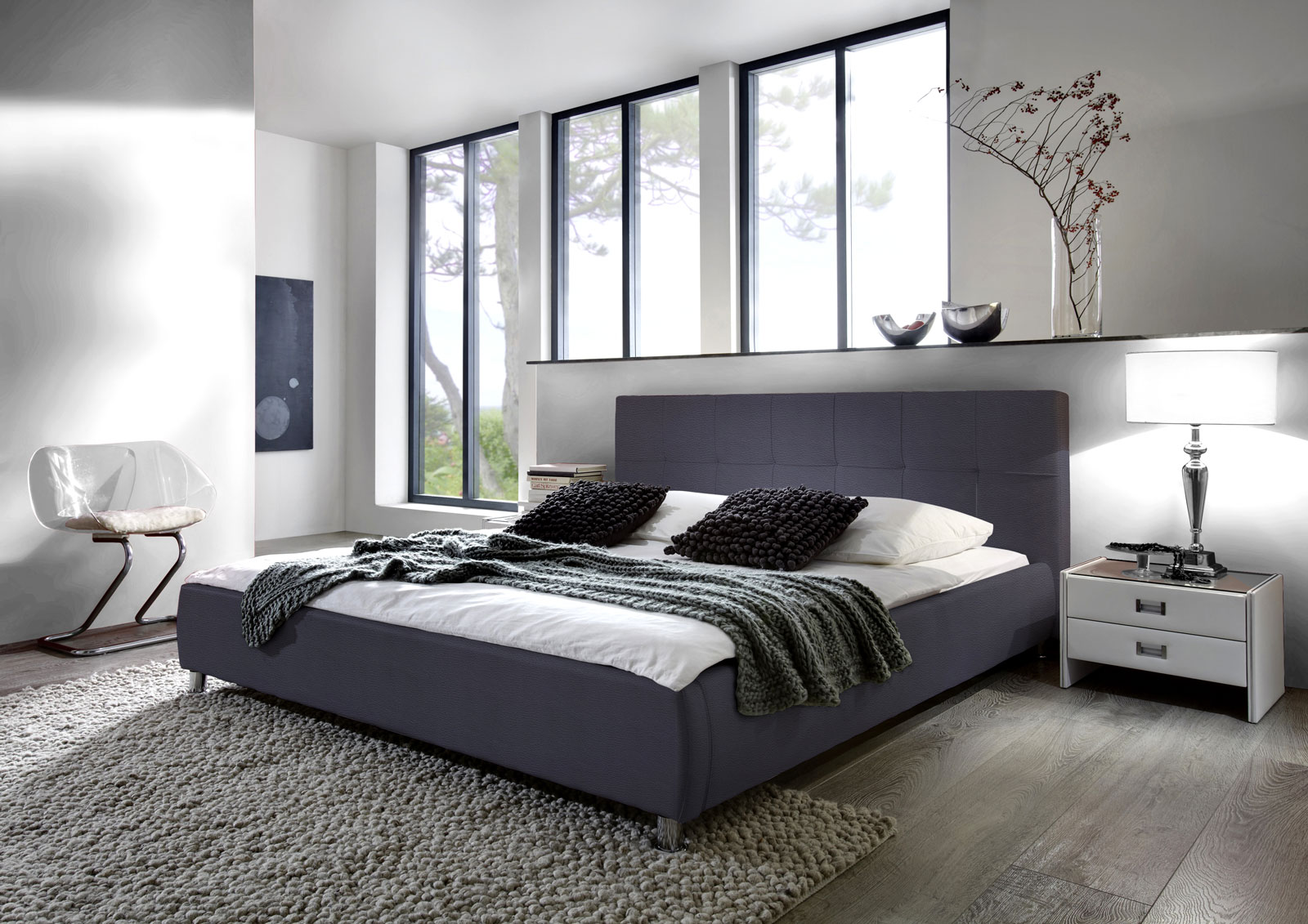 sam polsterbett doppelbett bett 180 x 200 cm grau zarah. Black Bedroom Furniture Sets. Home Design Ideas