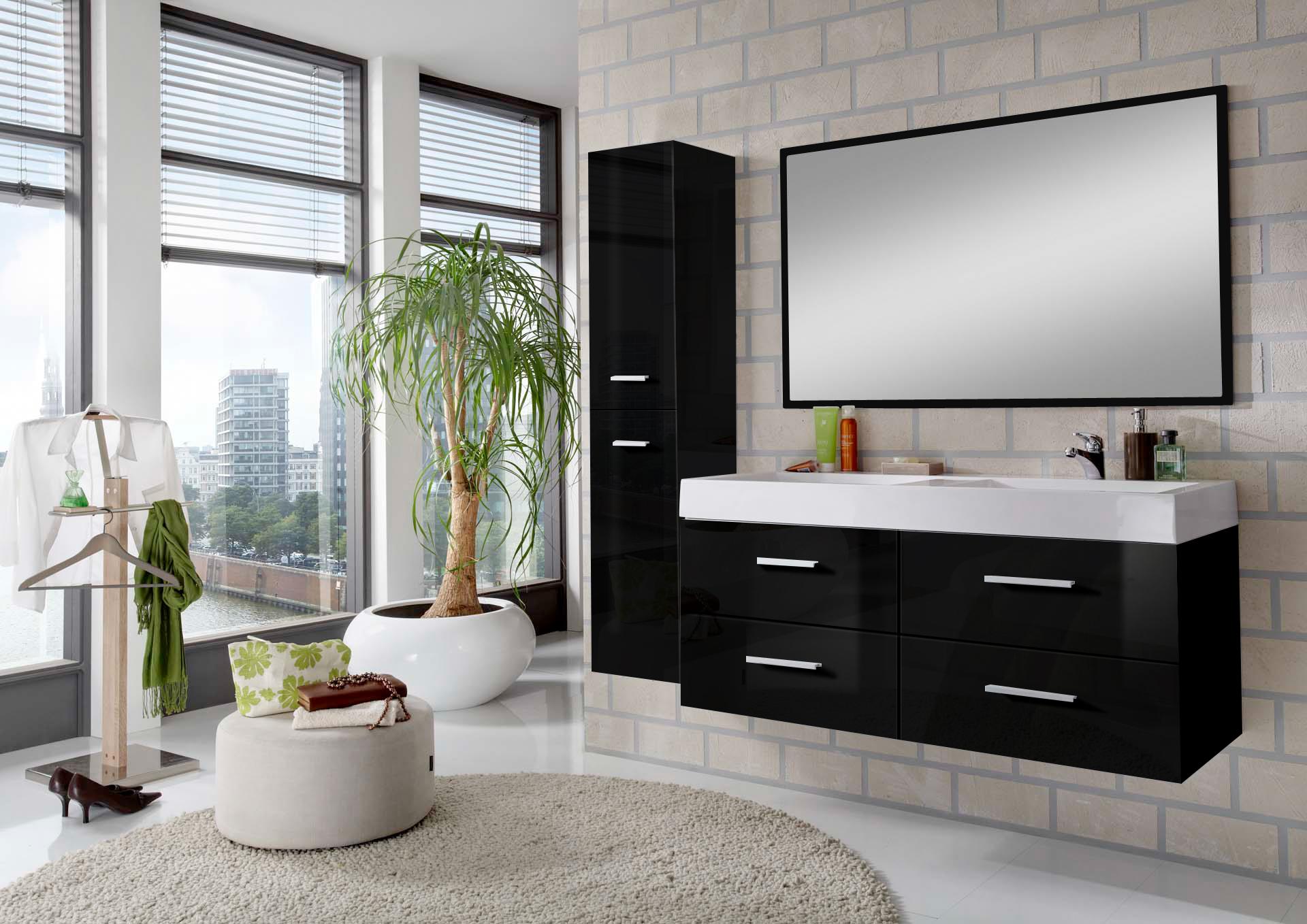 sam badem bel hamburg 3tlg 120 cm hochglanz schwarz 120 cm auf lager. Black Bedroom Furniture Sets. Home Design Ideas