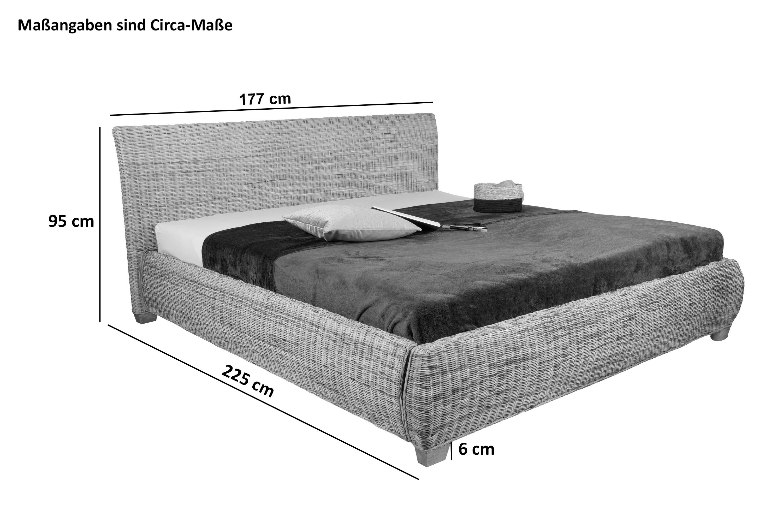 sam rattanbett doppelbett 160 x 200 cm rattan ngan 9135. Black Bedroom Furniture Sets. Home Design Ideas