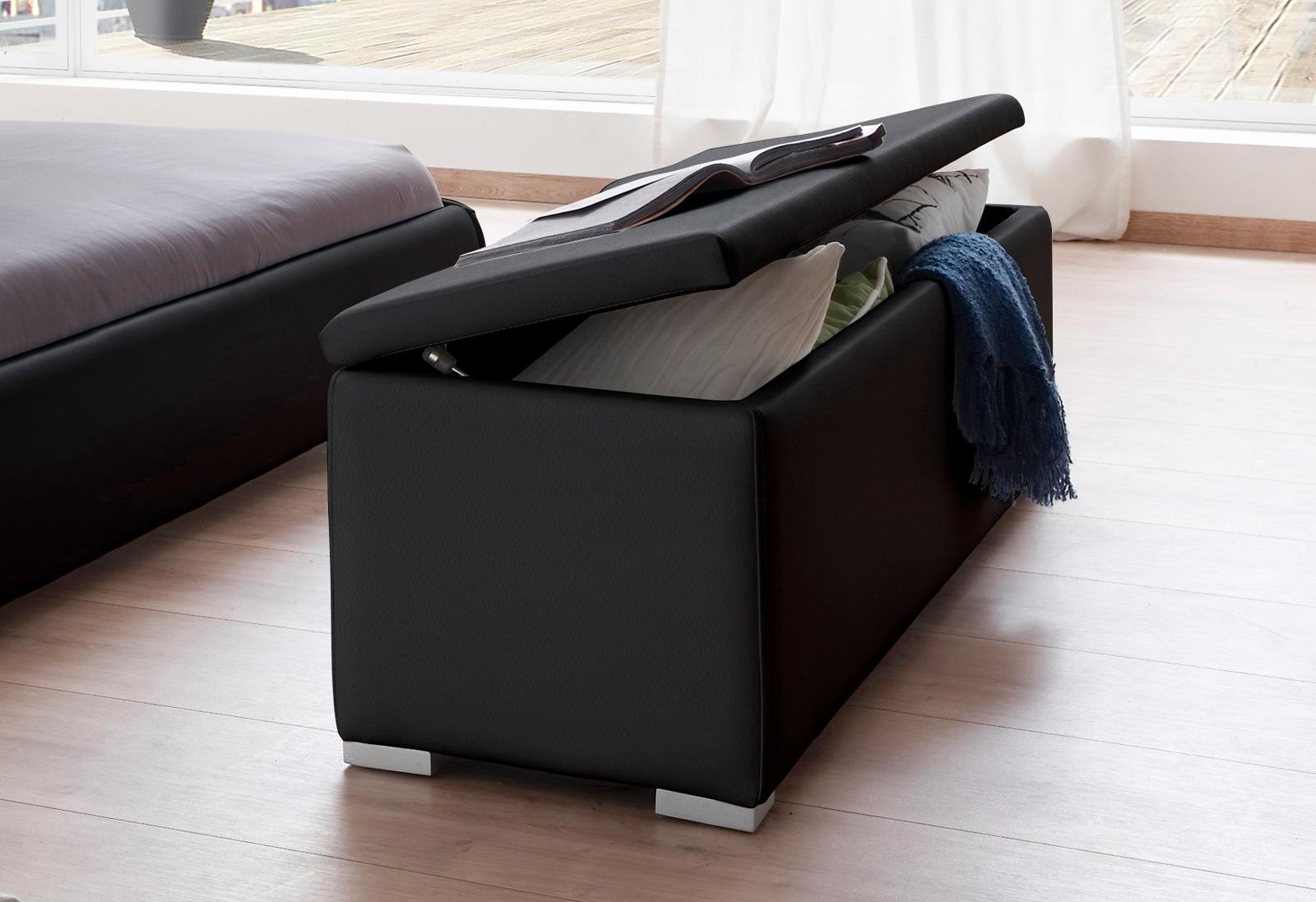 sam bettbank sitztruhe 120 x 38 cm aufklappbar schwarz heidi. Black Bedroom Furniture Sets. Home Design Ideas