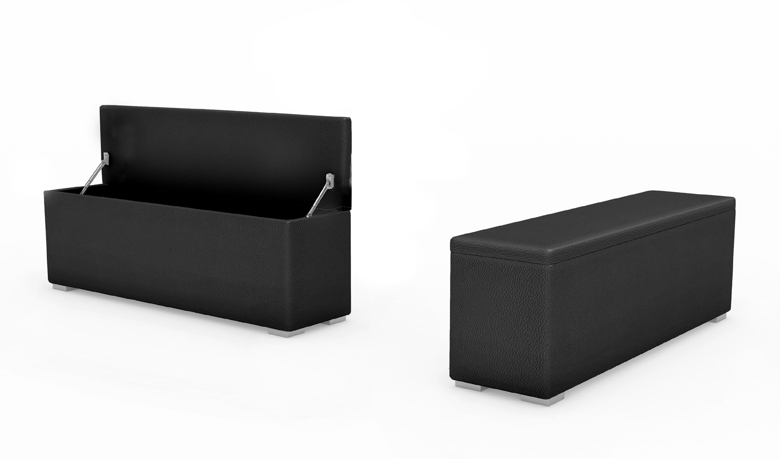 SAM® Bettbank Sitztruhe 120 x 38 cm aufklappbar schwarz HEIDI