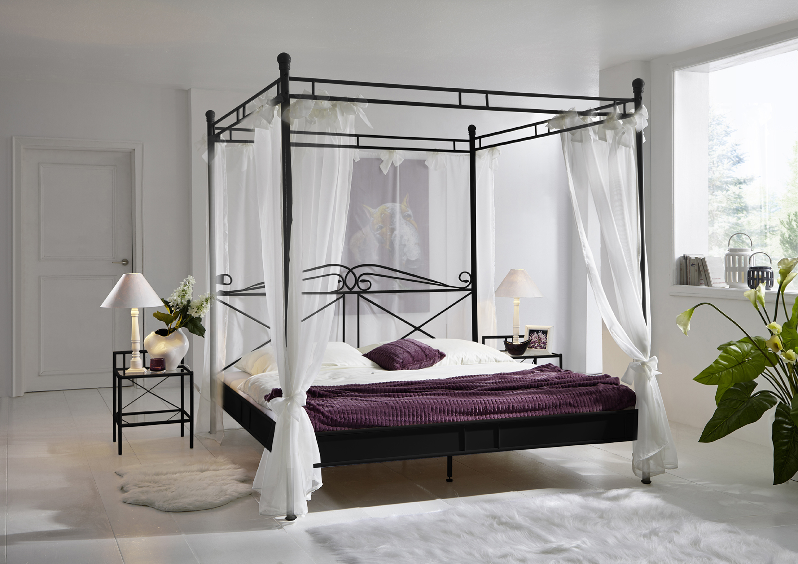 sam himmelbett doppelbett 180 x 200 cm schwarz venezia demn chst. Black Bedroom Furniture Sets. Home Design Ideas