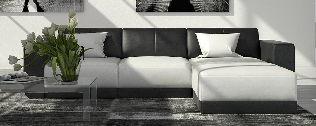 sam couch ecksofa polsterecke 260 x 200 cm wei schwarz fadrina. Black Bedroom Furniture Sets. Home Design Ideas