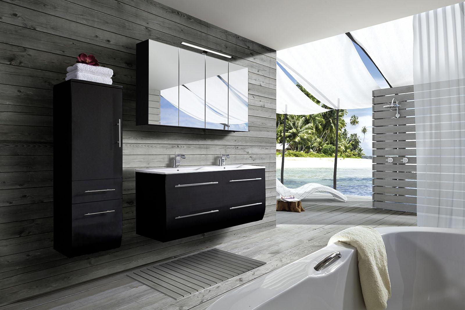 badmobel doppelwaschbecken, sam® badmöbel set 3tlg doppelwaschtisch 120 cm schwarz zÜrich, Design ideen
