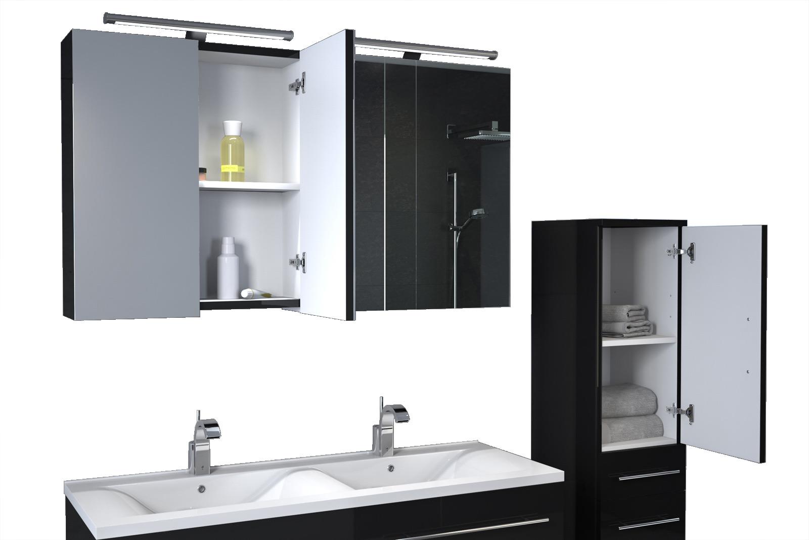 SAM® Badmöbel Set 3tlg Doppelwaschtisch 120 cm schwarz ZÜRICH ...