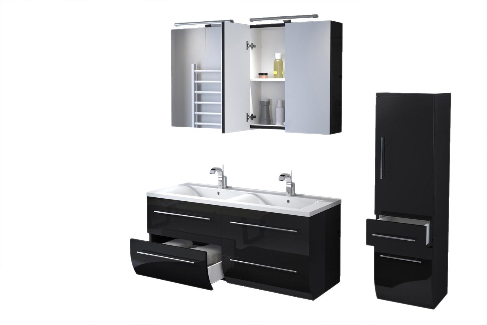 SAM® Badmöbel Set 3tlg Doppelwaschtisch 120 cm schwarz ZÜRICH