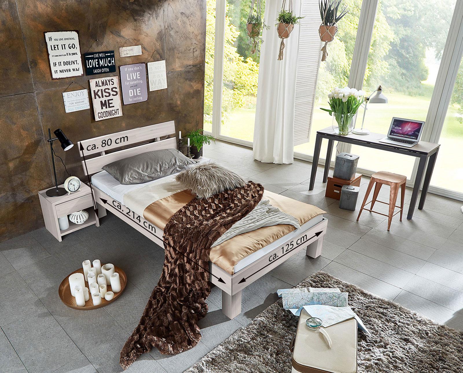 sam massivholzbett einzelbett buche wei lasiert 120 x 200 cm julia demn chst. Black Bedroom Furniture Sets. Home Design Ideas