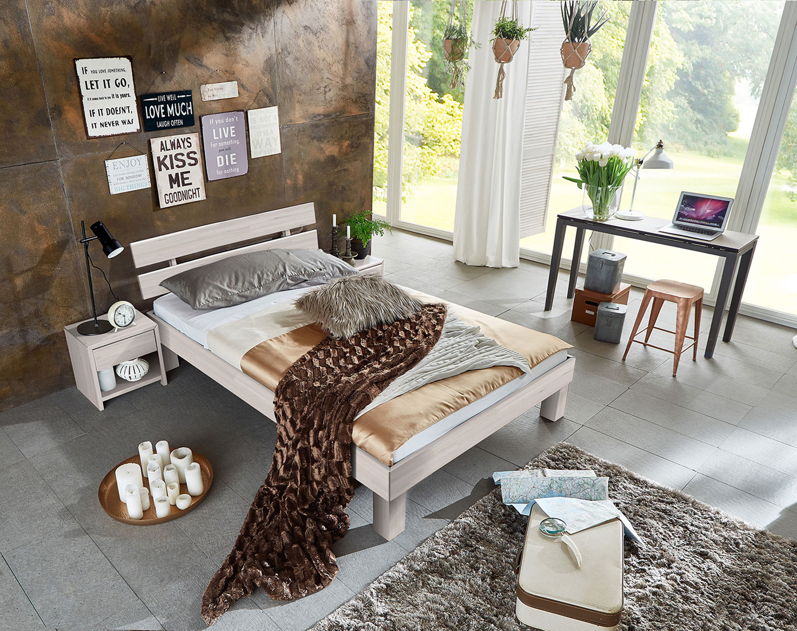 sam massivholzbett doppelbett buche wei lasiert 160 x 200 cm julia demn chst. Black Bedroom Furniture Sets. Home Design Ideas