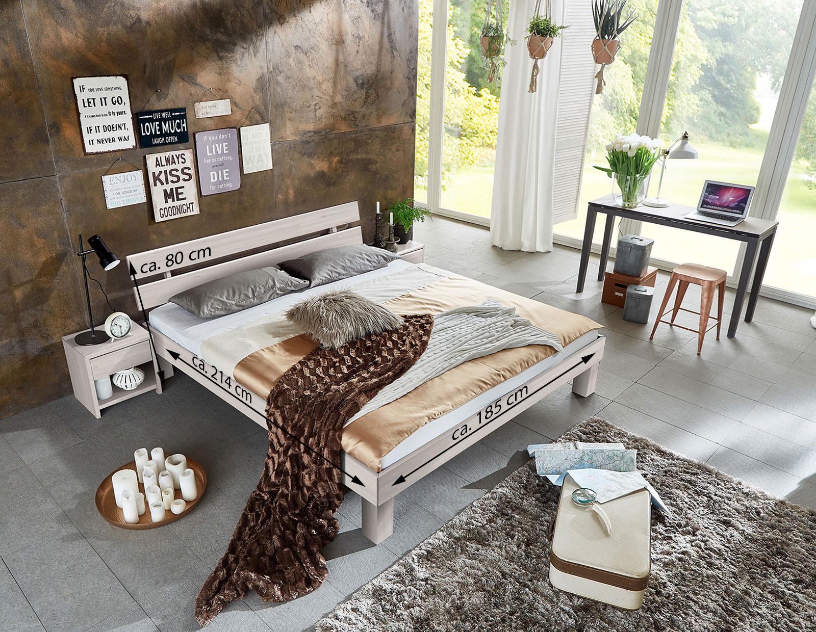 sam massivholzbett doppelbett buche wei lasiert 180 x. Black Bedroom Furniture Sets. Home Design Ideas