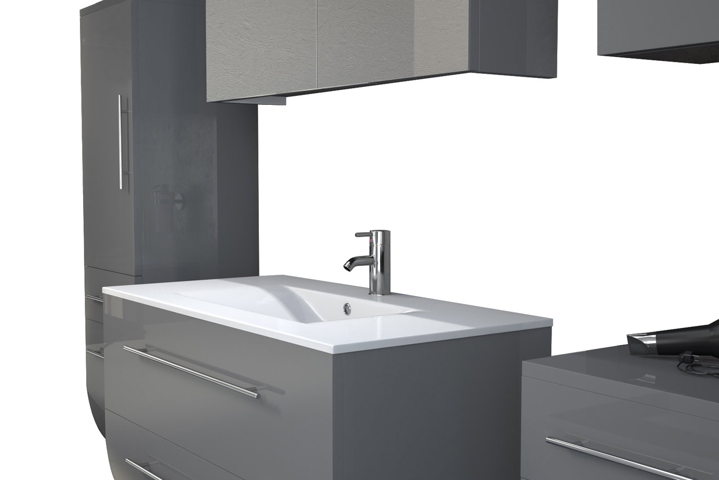 SAM® Badezimmermöbel Zagona 5tlg grau Hochglanz 90 cm Demnächst !