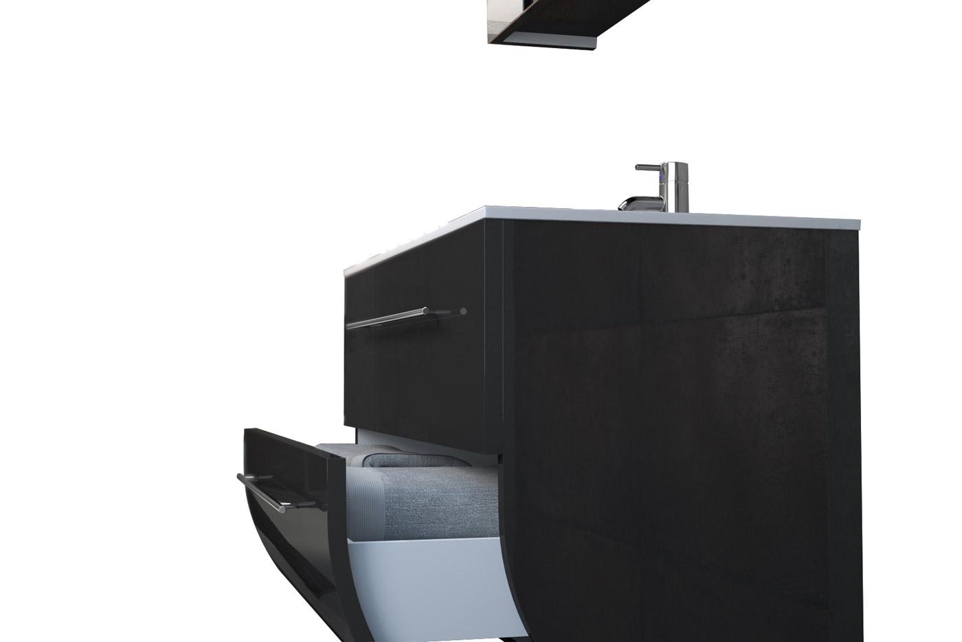 sam badezimmerm bel zagona 2tlg schwarz hochglanz 90 cm demn chst. Black Bedroom Furniture Sets. Home Design Ideas