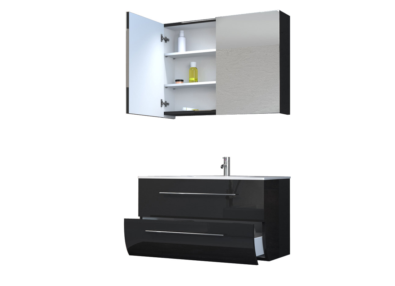 sam badezimmerm bel zagona 2tlg schwarz hochglanz 90 cm demn chst. Black Bedroom Furniture Sets. Home Design Ideas