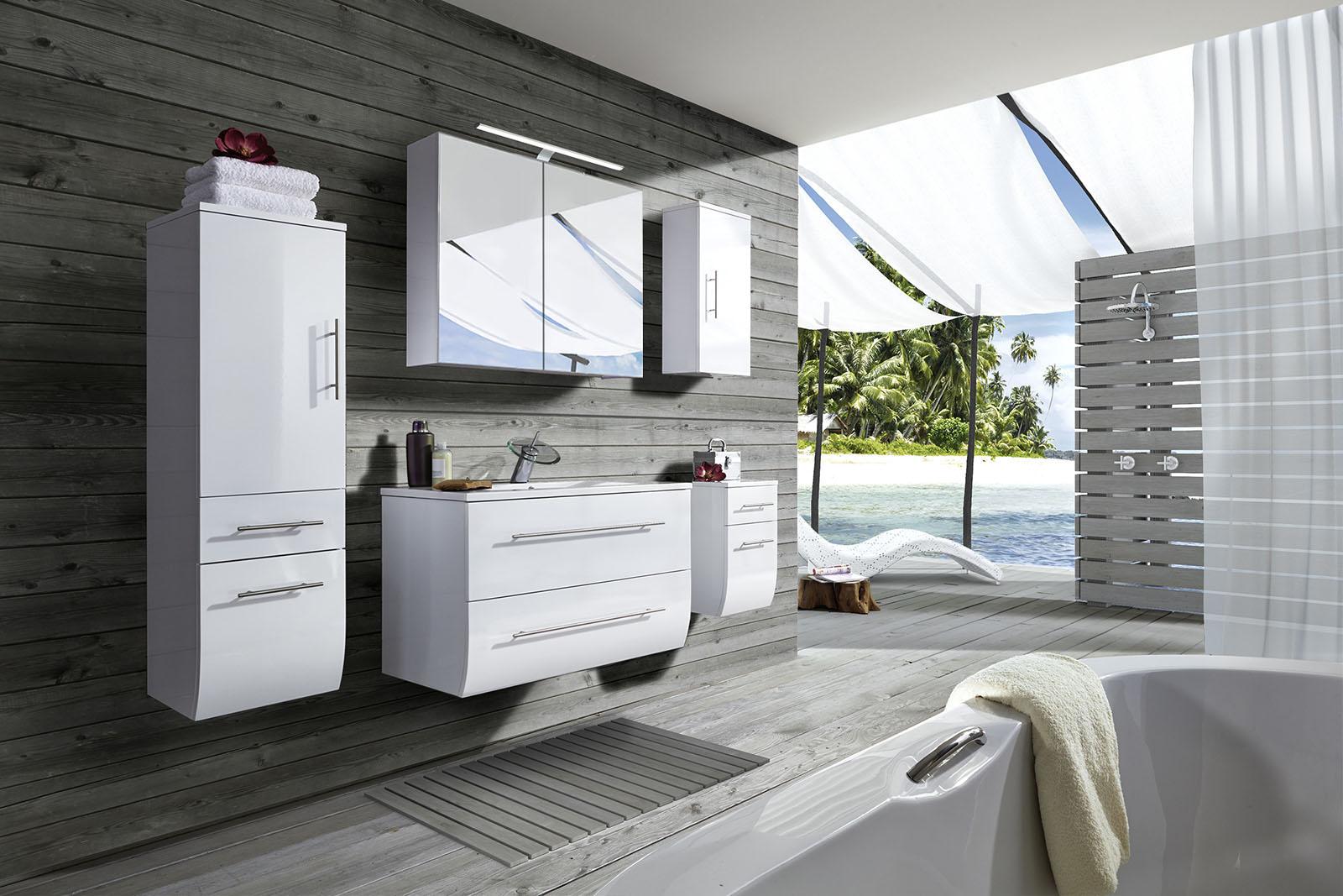 Badmöbel Set weiß Hochglanz 5tlg Waschtisch 90 cm ZAGONA