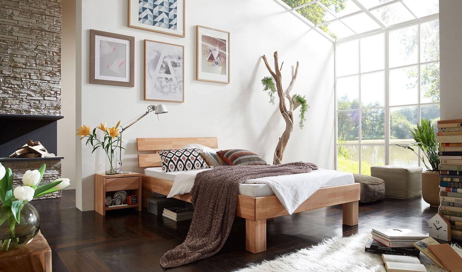 sam massivholzbett einzelbett in kernbuche ge lt 90 x 200 cm julia. Black Bedroom Furniture Sets. Home Design Ideas