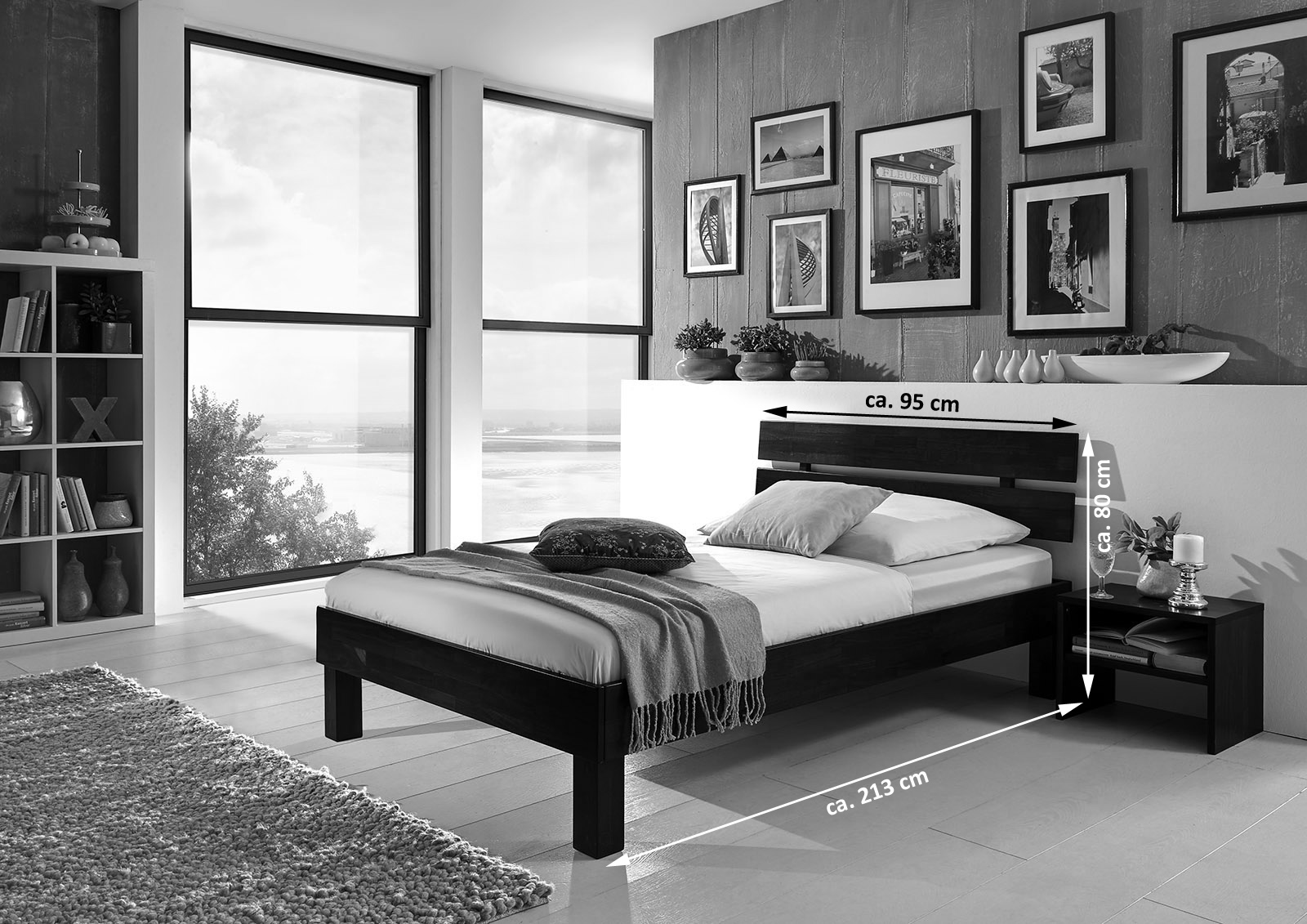 sam massivholzbett einzelbett in buche wenge 90 x 200 cm julia. Black Bedroom Furniture Sets. Home Design Ideas