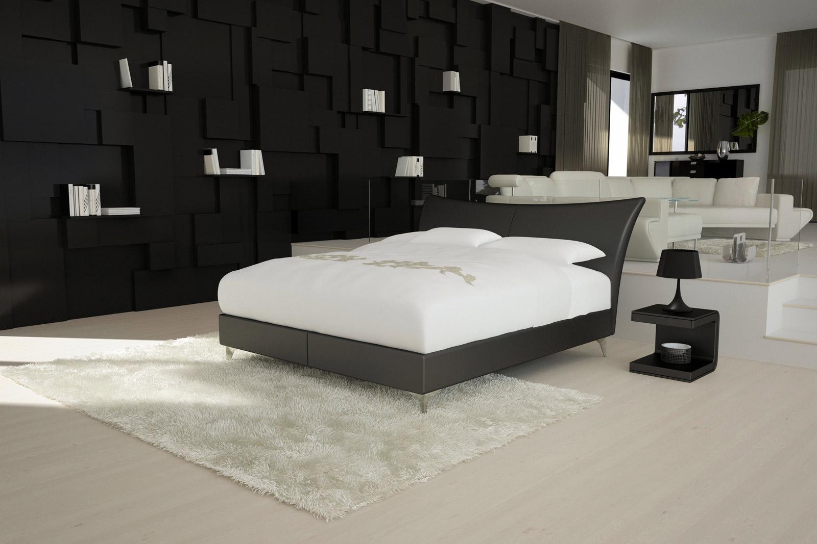 sam design boxspringbett 140 x 200 cm schwarz wing luciano. Black Bedroom Furniture Sets. Home Design Ideas