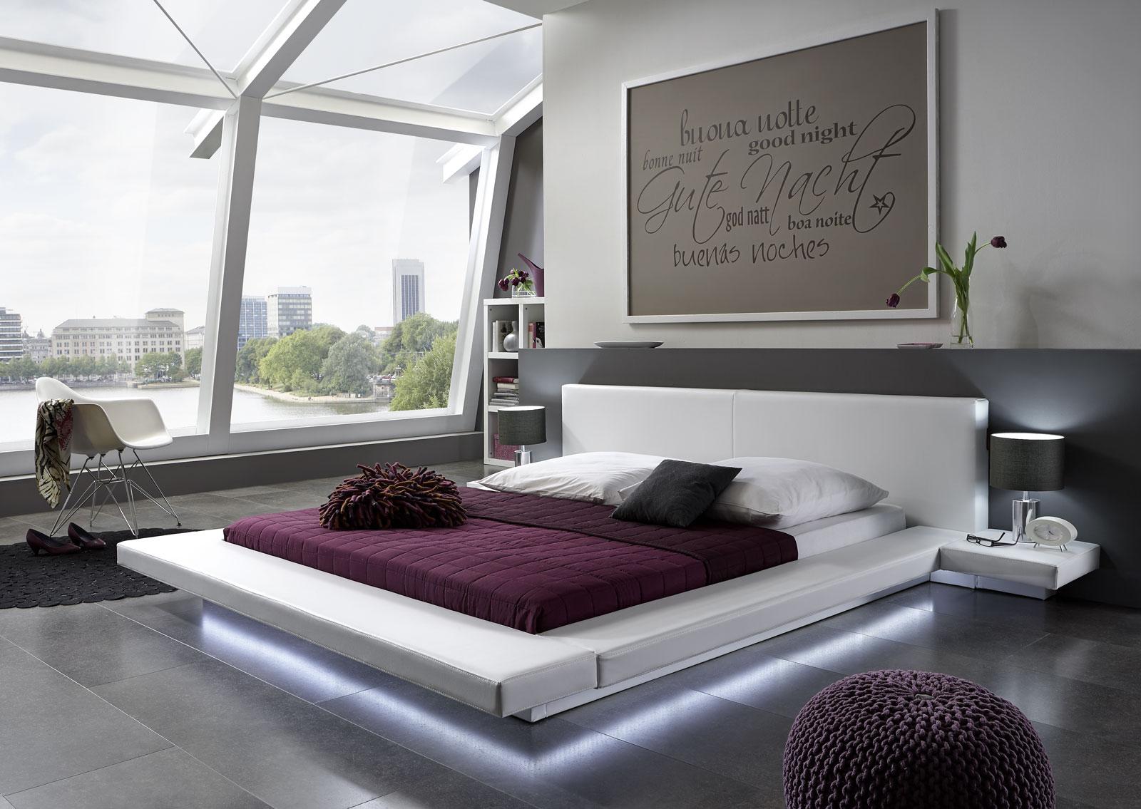 sam polsterbett 140 x 200 cm wei perla led. Black Bedroom Furniture Sets. Home Design Ideas