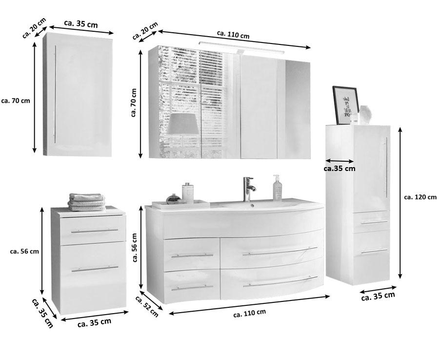 SAM® Badmöbel Set 5tlg Becken 110 cm weiß Dublin rechts Demnächst !