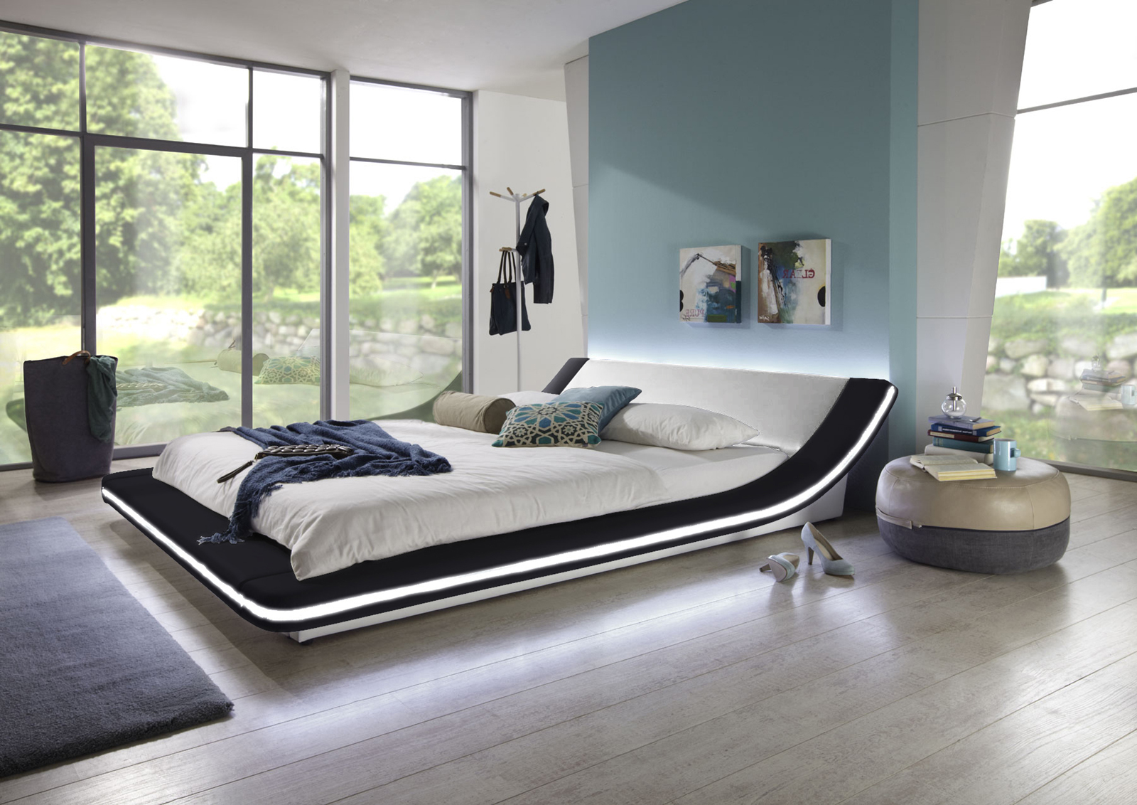 sam polsterbett 140 x 200 cm schwarz wei custavo led auf lager. Black Bedroom Furniture Sets. Home Design Ideas