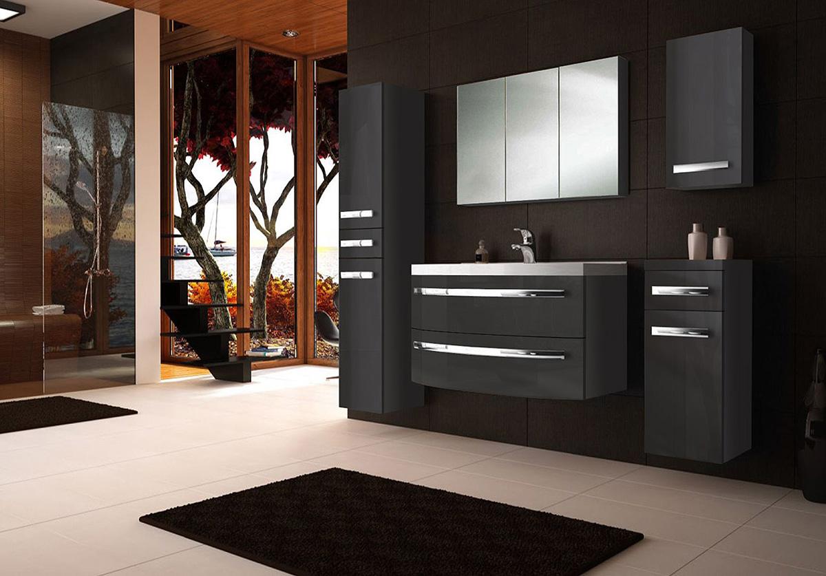 Badmobel 90 Cm ~ Sam® badmöbel hochglanz anthrazit 5tlg dynamic 90 cm