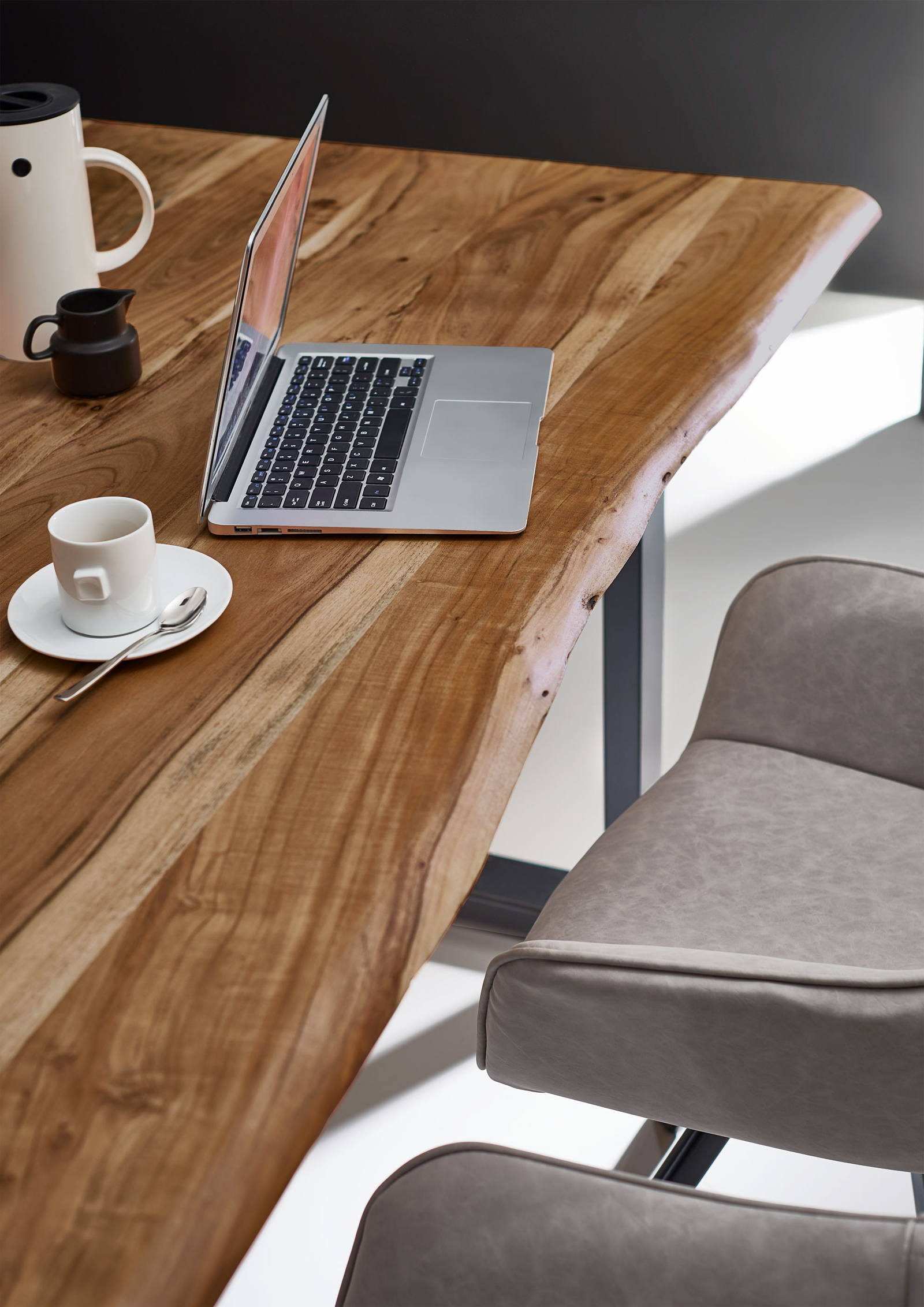 SAM® Esstisch Baumkante Massiv Akazie 200 x 100 cm silber NOAH ...