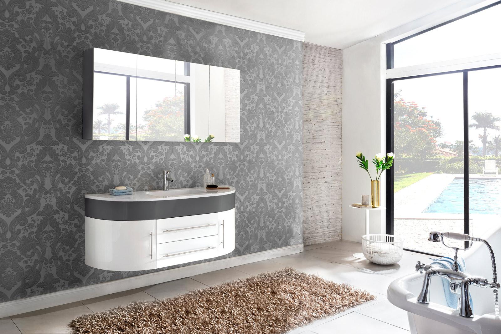 sam badm bel set 2tlg waschbecken 140 cm wei grau hochglanz dublin demn chst. Black Bedroom Furniture Sets. Home Design Ideas
