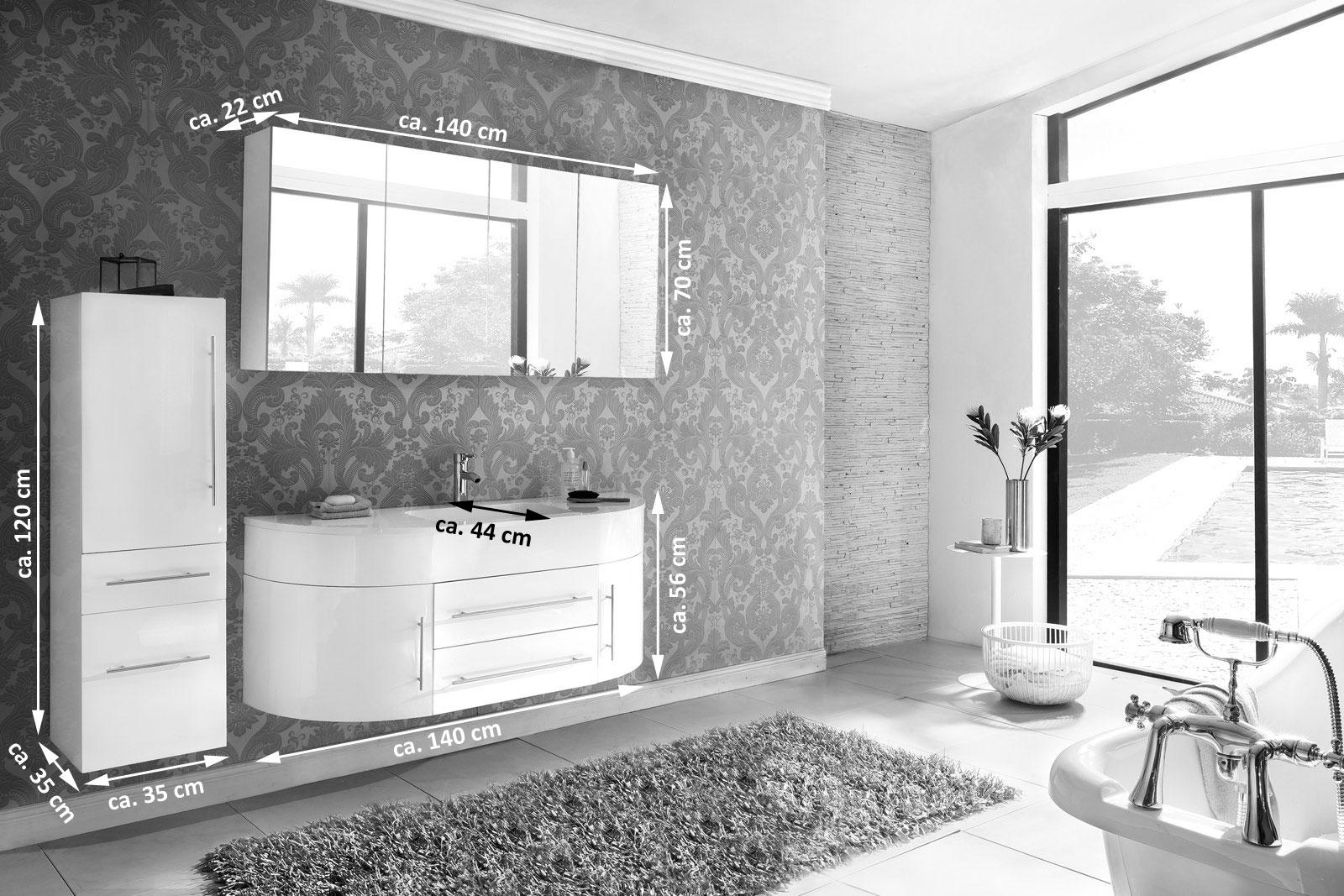 sam badm bel set 3tlg waschbecken 140 cm grau wei dublin demn chst. Black Bedroom Furniture Sets. Home Design Ideas
