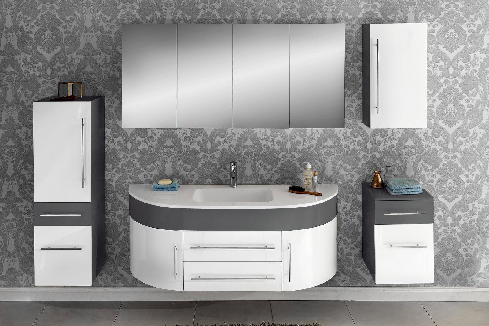 SAM® Badmöbel Set 5tlg Waschbecken 140 cm grau weiß Dublin Demnächst !