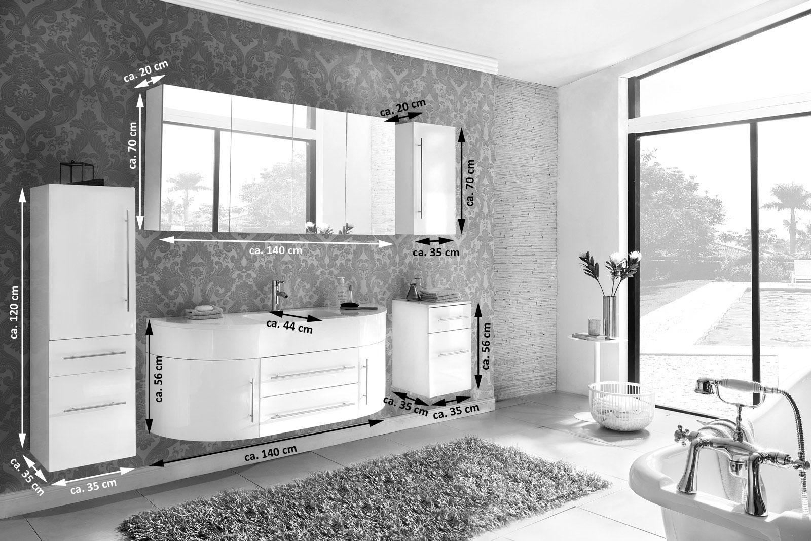 SAM® Badmöbel Set 5tlg Waschbecken 140 cm grau weiß Dublin | {Badmöbel weiss grau 69}