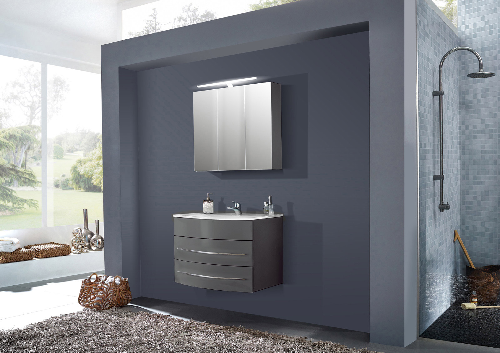 SAM® Badmöbel Set 2tlg Waschbecken 100 cm grau Hochglanz Dublin