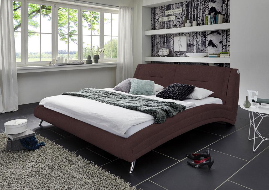 sam design bett 140 x 200 cm braun swing auf lager. Black Bedroom Furniture Sets. Home Design Ideas