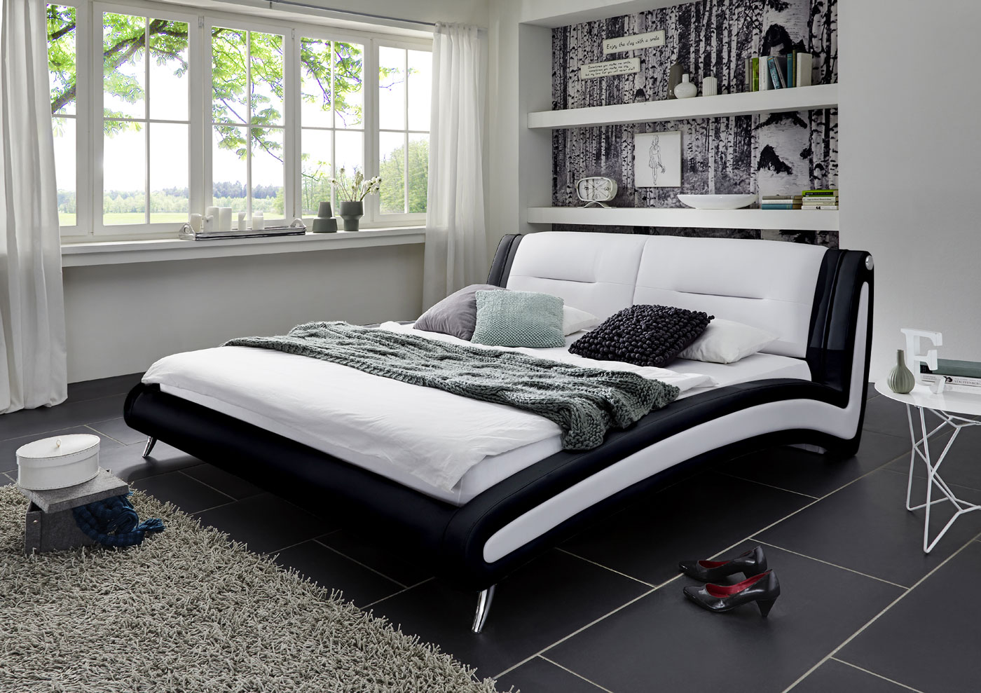 sam polsterbett doppelbett 140 x 200 cm schwarz wei swing. Black Bedroom Furniture Sets. Home Design Ideas