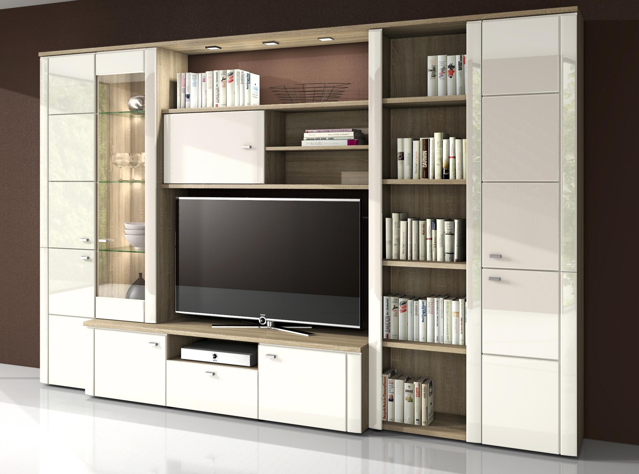 sam wohnwand mit led 315 cm aus sonoma eiche wei tower. Black Bedroom Furniture Sets. Home Design Ideas